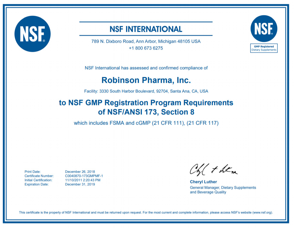 Certifications - Robinson Pharma, Inc